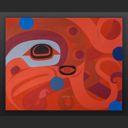 Steve Smith - Dla'kwagila Oweekeno Octopus Acrylic on birch panel painting 3400