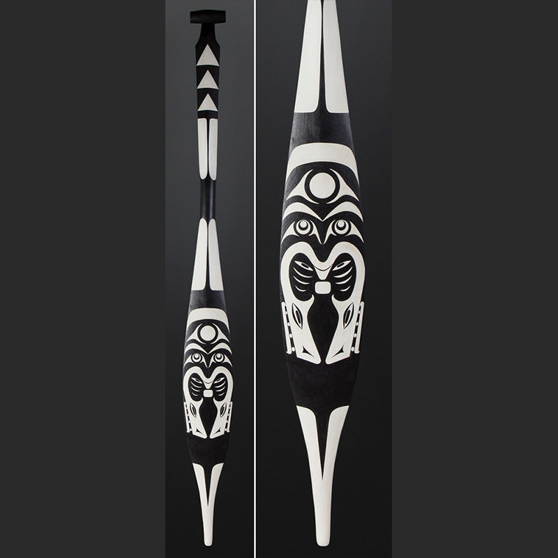 Greg Colfax Makah Potlatch Paddle Yellow cedar paint 63 x 6 $1600