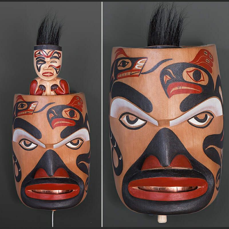 "Preparing for the Hunt George David Tla-o-qui-aht $3200 Red cedar, alder, horsehair, copper, paint 14"" x 7"" x 5"""