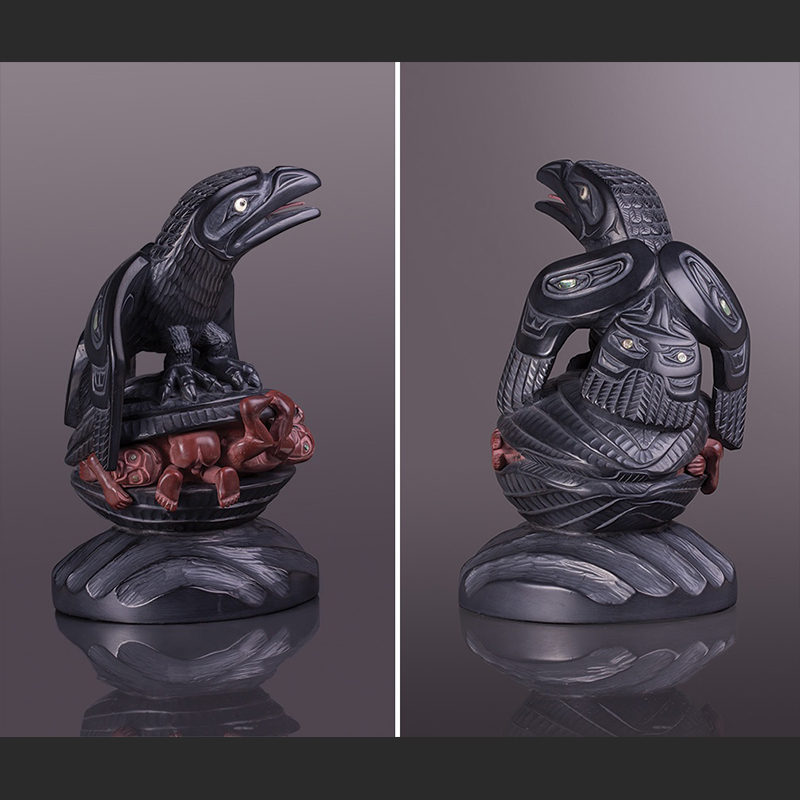 """raven and the first men raven first men clam people lionel samuels creation lionel samuels argillite The Story of Creation with catlinite, abalone, ivory 10"""" x 6"""" x 5"""""""