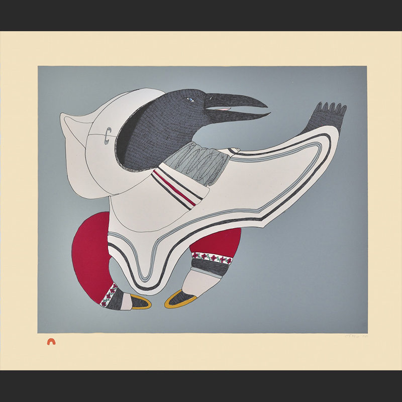 Title: Raven's Regalia Medium: Lithograph Paper: Arches Cream Printer: Niveaksie Quvianaqtuliaq Size: 19 1/4 x 22 3/4 Inches (48.9 x 57.5 cm) Cape Dorset Print Collection 2015 Price: $700 U.S.