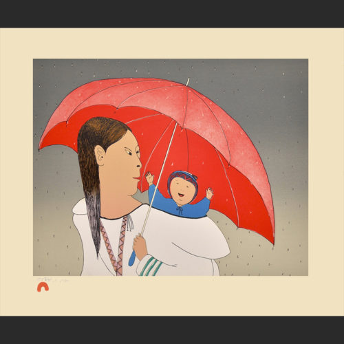 Red Umbrella Ningeokuluk Teevee Cape Dorset Print Collection 2015 Medium: Lithograph Paper: Arches Cover Cream Printer: Niveaksie Quvianaqtuliaq Size: 15 x 18 inches (38.5 x 46 cm) Price: $575
