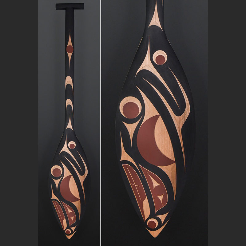 Andy Peterson Coast Salish Paddle Salmon Red cedar paint 50 x 9 $900