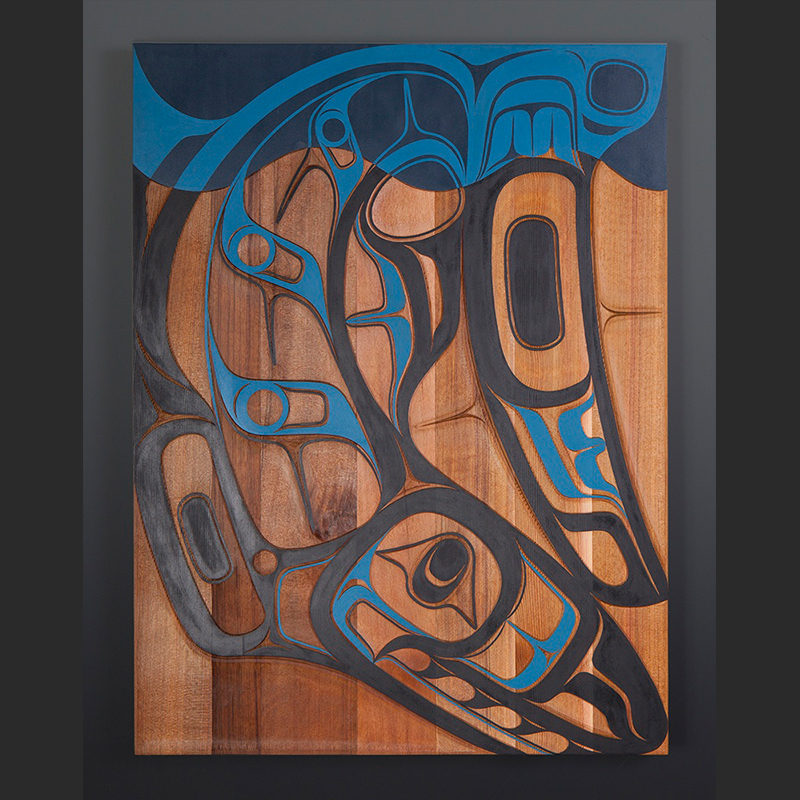 "shark panel Nathan Wilson Haisla Red shark cedar, paint 24"" x 19"" $3200"