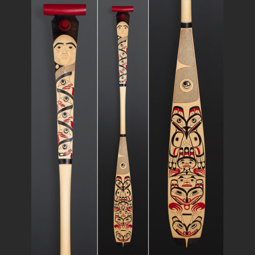 Sky Brothers Shawn Aster Tsimshian paddle Yellow cedar paint 69 x 5 1/2 $2700