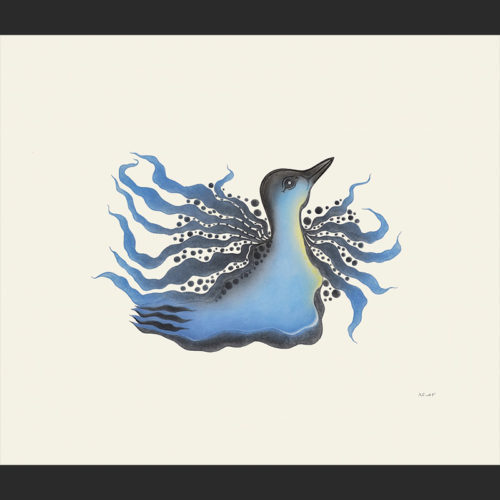 SPARKLING LOON Cape Dorset Print Collection 2015 PITALOOSIE SAILA Medium: Etching & Aquatint Paper: Arches White Printer: Studio PM Size: inches (60.5 x 69.6 cm) Price: $850