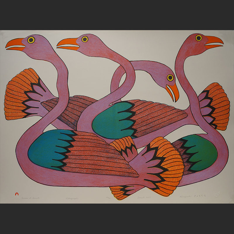 "Swans at sunset Kenojuak Ashevak Inuit Cape Dorset Lithoraph c. 2002 #36/50 30""W x 22.5""Hswans at sunset kenojuak ashevak print lithograph inuit cape dorset nunavut"