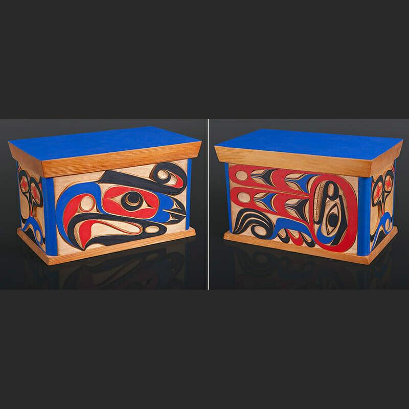 "Thunderbird Box Ray Sim Nuu Chah Nulth Red cedar, paint 12"" x 7"" x 7"""