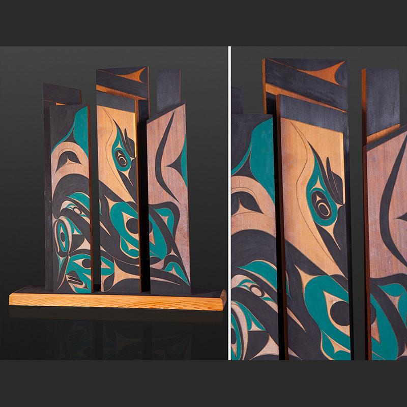 thunderbird in the city Tim Paul Nuu-Chah-Nulth thunderbird city vancouver island native art sculpture carving Red cedar paint 31 x 35x 8 7000