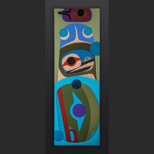 Steve Smith - Dla'kwagila Oweekeno Unity orca fin painting 1500 Acrylic on birch panel