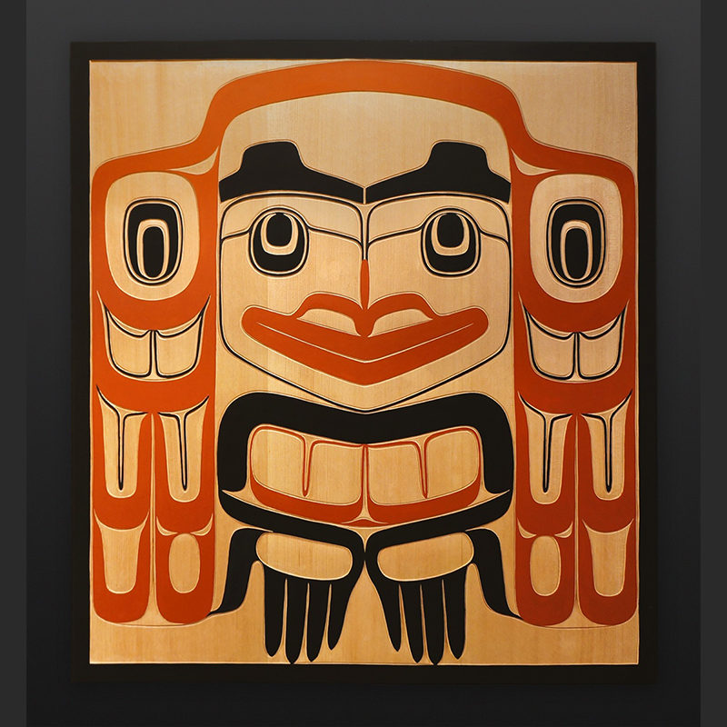 "welcome Clifton Guthrie Tsimshian welcome Red cedar, paint 32"" x 29"" $3400"