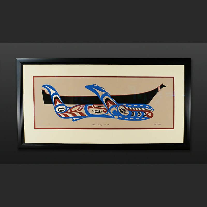 "Calvin Hunt Mowachat whale hunter's ritual Framed Artist's Proof 72"" x 7"" x 5"""