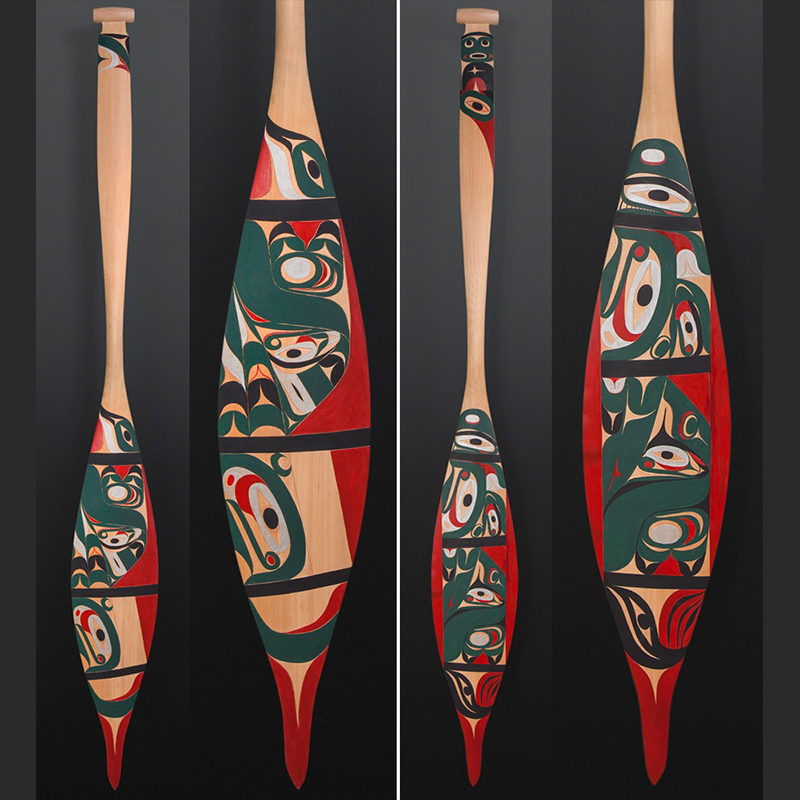 The Whale Tim Paul Nuu-Chah-Nulth paddle Red cedar paint 65 x 7½ $3000
