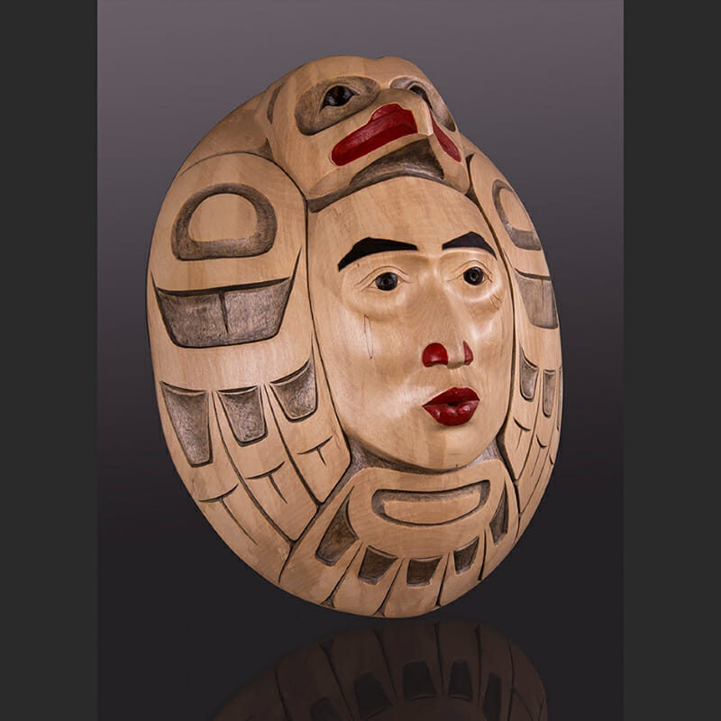 "Whistler (The Call) Eagle Moon Mask Arlene Ness - Gitxsan Silver Birch, paint 17"" x 14 1/2"" x 6"" whistler Eagle Moon Mask Arlene Ness - Gitxsan"
