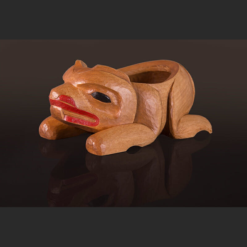 "Young Beaver Sculptured Bowl Arlene Ness – Gitxsan 10"" x 5 ½"" x 4 /2"" Birch, paint"