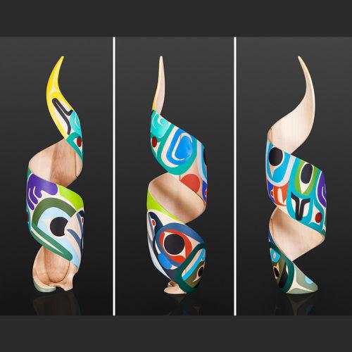 """Steve Smith - Dla'kwagila Oweekeno Young Ones Acrylic on turned maple spiral 21"""" 3500"""