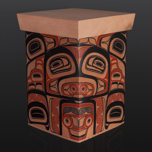 "Trade Box David Boxley Tsimshian red cedar, paint 10 3/4"" x 11 "" x 15 1/4"" 3500 bentwood sculpture wood northwest coast native art formline"