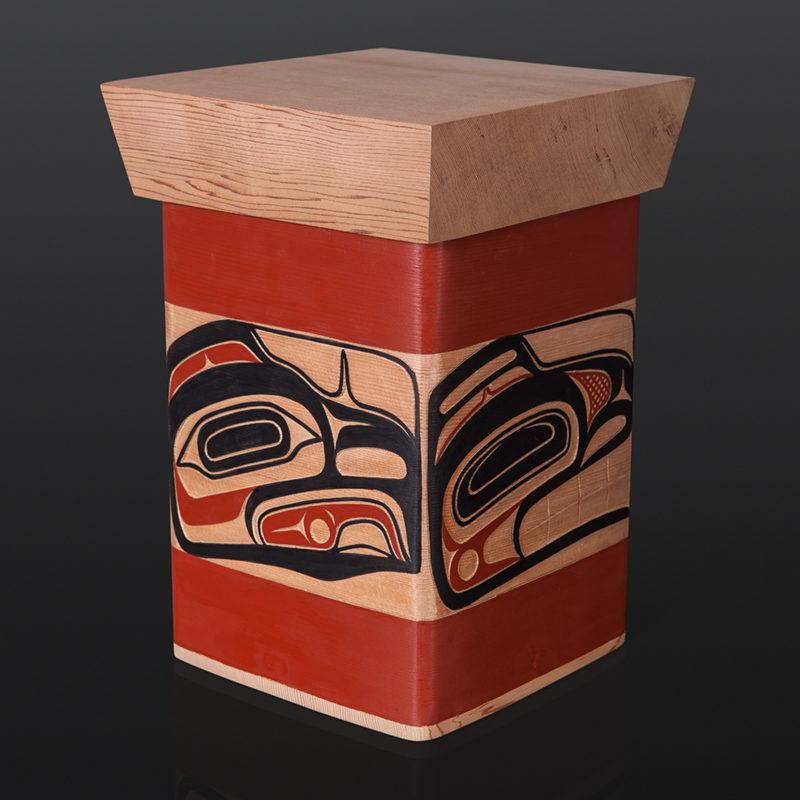 "Four Clans Bentwood Box David Boxley Tsimshian red cedar, paint 8.25"" x 8"" x 11.25"" 2400 sculpture wood carved northwest coast native art"