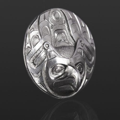 Thunderbird pendant Gus Cook Kwakwaka'wakw silver Repoussé jewelry pendant native art northwest coast eagle 1 1/2 x 1 1/2 1100