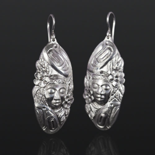 human with flowers earrings woman Gus Cook Kwakwaka'wakw silver Repoussé jewelry pendant native art northwest coast 1 3/4 x 1 3/4 2000 Mother Earth