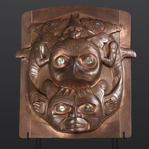 copper frontlet abalone custom stand Gus Cook Kwakwaka'wakw silver Repoussé jewelry native art northwest coast