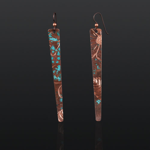 Alaskan Wild Roses Jennifer Younger Tlingit copper $150 northwest coast jewelry earrings