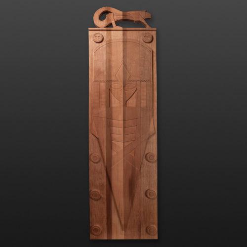 "Salamander Panel Greg Robinson Chinook Red cedar 69"" x 20"" x 2"" $5800 Columbia river Northwest coast Chinookan"