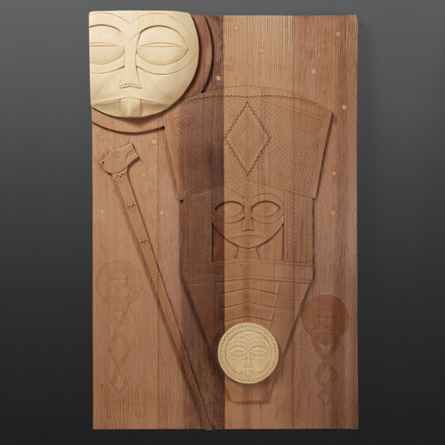 "Moon and Stars Panel Greg Robinson Chinook Yellow cedar, red cedar 31¼"" x 20"" x 2¾"" $4000 Columbia river Northwest coast Chinookan"