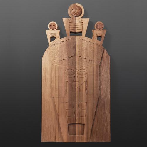 "The Sun and His Relatives Panel Greg Robinson Chinook Red cedar 40"" x 20"" x 2¼"" $3800 Columbia river Northwest coast Chinookan"
