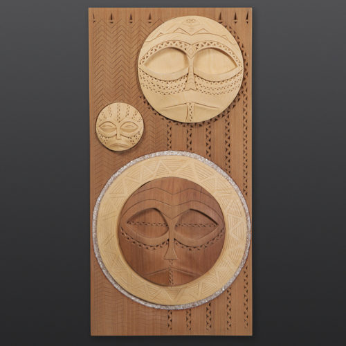 "Pulak""li Kusax - Night Sky Panel Greg Robinson Chinook Yellow cedar, red cedar 15"" x 7½"" x 1½"" $2800 Columbia river Northwest coast Chinookan"