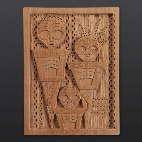 """Thlune Chinuk Yakwa - Three Chinuk There Greg Robinson Chinook Red cedar, custom stand 9¾"""" x 7½"""" x ½"""" $2600"""