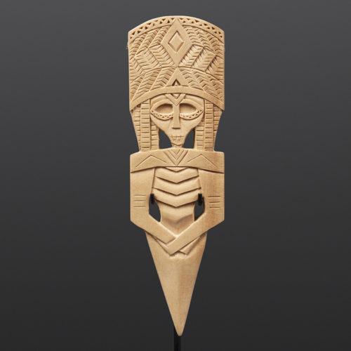 "'Tanas Uptsa'x - Little Knife Pendant Greg Robinson Chinook Yellow cedar, custom stand 5½"" x 2"" $900 Columbia river Northwest coast Chinookan"