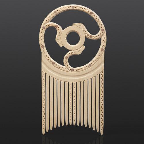 "Thlune Ulq"" - Three Snakes Comb Greg Robinson Chinook Yellow cedar, red cedar, custom stand 9"" x 5½"" x ½"" $1900 Columbia river Northwest coast Chinookan"