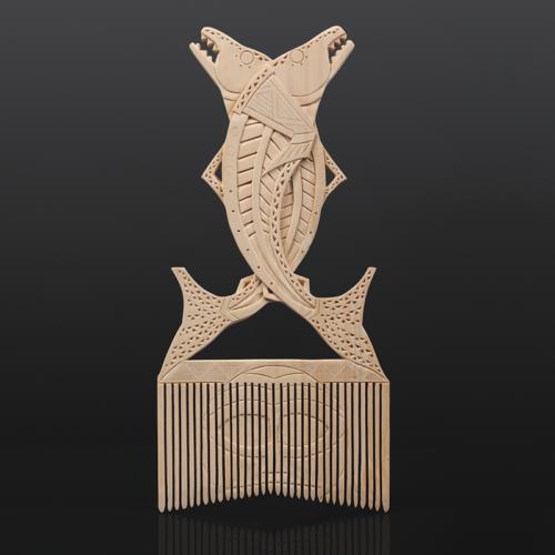 "Iquanat/Salmon Comb Greg Robinson Chinook Yellow cedar, custom stand 10"" x 6"" x ½"" $2200 Columbia river Northwest coast Chinookan"