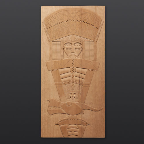 "River Serpent Panel Greg Robinson Chinook Red cedar 15¼"" x 7½"" x ½"" $2200 Columbia river Northwest coast Chinookan"