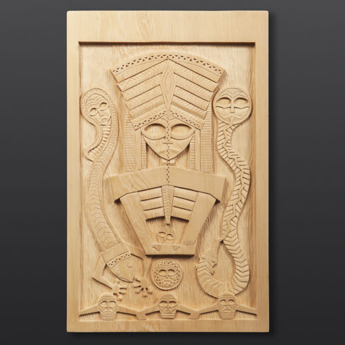"Makers of the First Net Panel Greg Robinson Chinook Yellow cedar 16¾"" x 10¼"" x 1½"" $3200 Columbia river Northwest coast Chinookan"