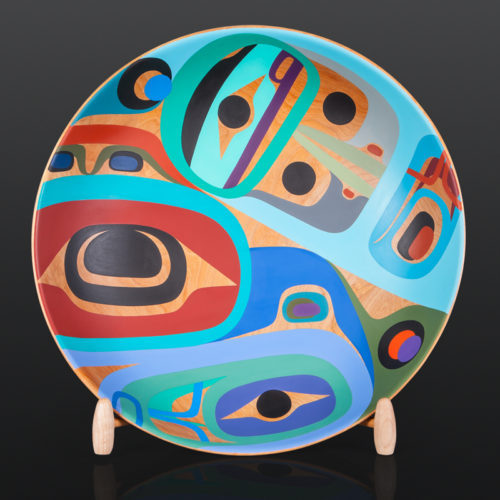 "Thunderbird and Raven Steve Smith Dla'kwagila Oweekeno Maple, paint 20"" x 11"" with stand $7000 bowl modern art"