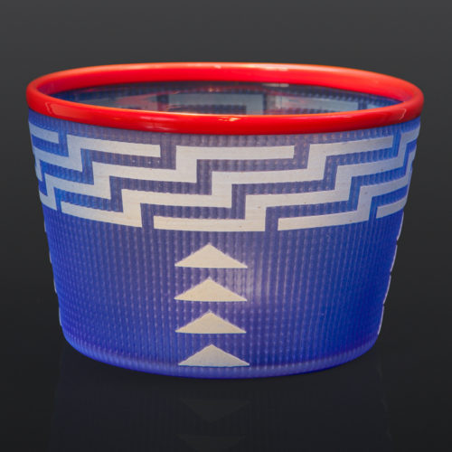 "Bright Blue Basket Preston Singletary Tlingit Blown & hand-carved glass 4"" x 6"" $3000 glass art seattle berry basket modern northwest coast"