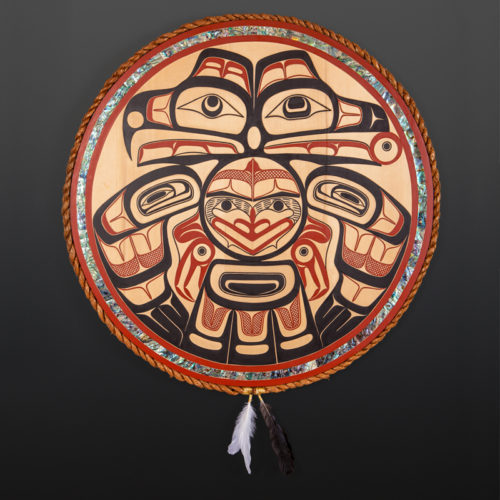 "Lovebirds Panel David Boxley Tsimshian yellow cedar, abalone, paint, cedar rope, feathers 31"" diameter x 1"" $6500"