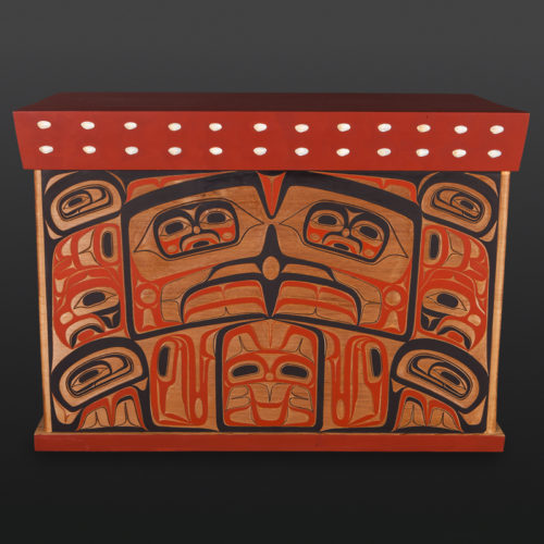 "Bentwood Chest David Boxley Tsimshian Carved cedar, shell, paint 17"" x 33¾"" x 25¼"" $18000 northwest coast bentwood box"