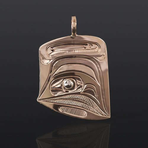 Raven Dorsal Pendant Corrine Hunt Kwakwaka'wakw 14k yellow & white gold $550