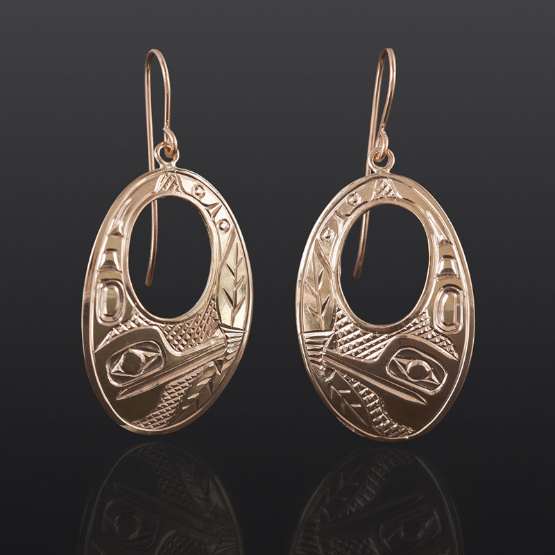 Hummingbird Earrings Bill Bedard Haida 14k gold $995