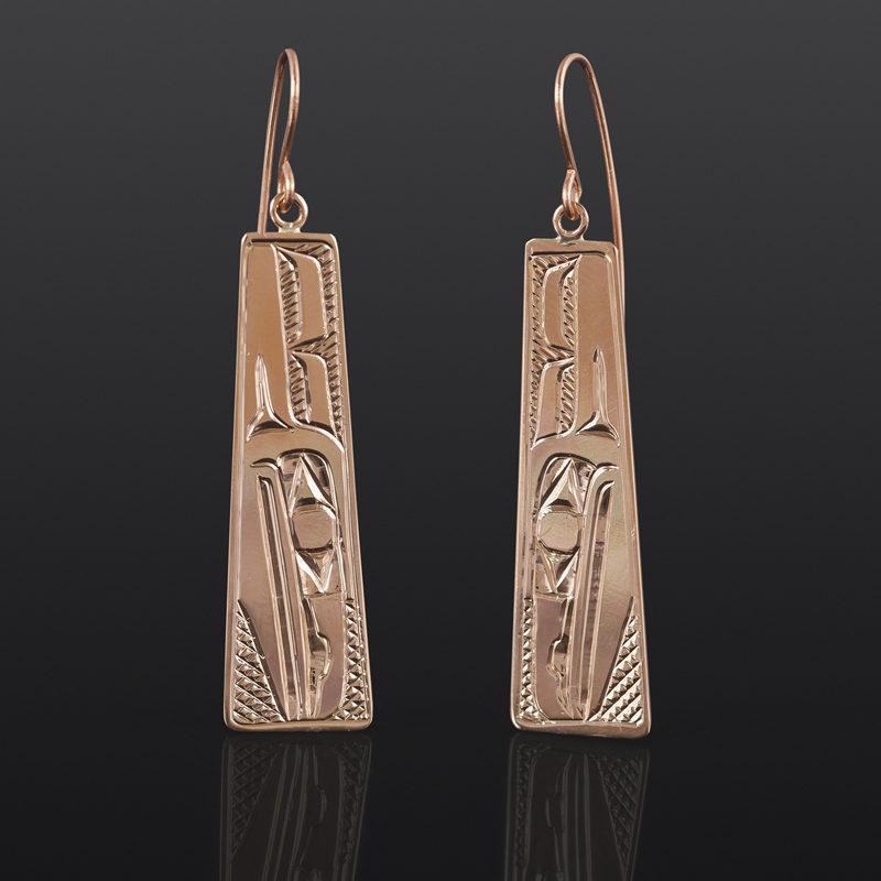 Raven Teardrop Earrings Bill Bedard Haida 14k gold $995