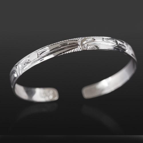 "Lovebirds Bracelet Bill Bedard Haida Silver 6"" x ¼"" $225"