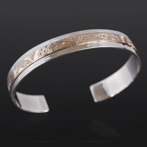Lovebirds Bracelet Lloyd Wadhams Jr Kwakwaka'wakw Silver, 14k gold $900